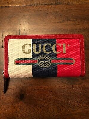 52b58c61ca68c8 Gucci Zip Around Wallet - Sylvie baiadera linen canvas With Leather Trim