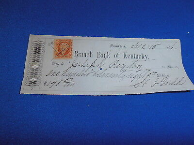 1866 Branch Bank Of Kentucky, Frankfort Ky  Bank Check W/revenue Stamp