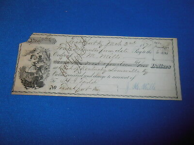 1871 Engraved Personal Bank Check From J M. Mills, Frankfort Ky