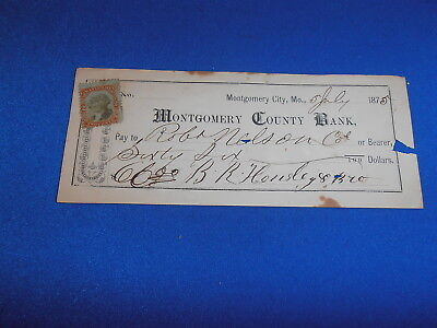 1875 Montgomery County Bank, Montgomery City, Mo  Bank Check W/revenue Stamp