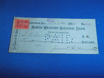 1898 North Western National Bank, Chicago Il Bank Check W/revenue Stamp