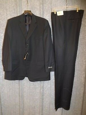 Classy Upscale Vtg New NOS Datti Black 100% Wool Two Piece Mens Suit 46 Long