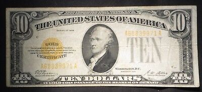 1928 Ten Dollar $10 Gold Certificate- VG/Fine