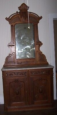 "Antique walnut Eastlake style sideboard buffet marble top victorian 8' 3.5"" Tall"