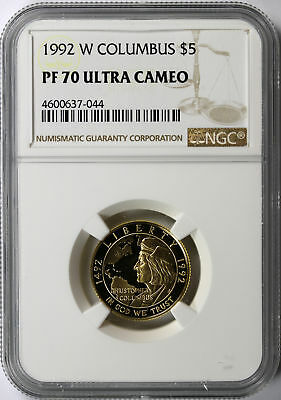 1992-W Columbus $5 Gold Commemorative NGC PF70 Ultra Cameo