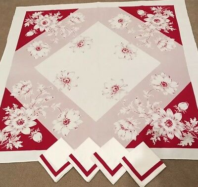 Vintage Viscose Cotton Print Red Pink Floral Tablecloth And 4 Napkins Set