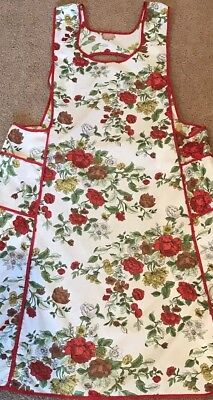 Vintage Full Pinafore Cobbler Apron Red Roses With Two Pockets Handmade