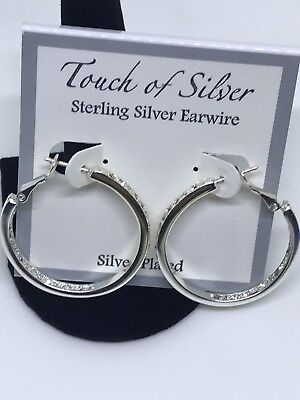 50$ 925 Sterling Silver Hoop Pierced Earrings 1.2'' Inches Genuine Rhinestone