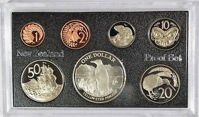 1988 New Zealand Yellow Eyed Penguin 7 Coin Proof Set  (b503.27)
