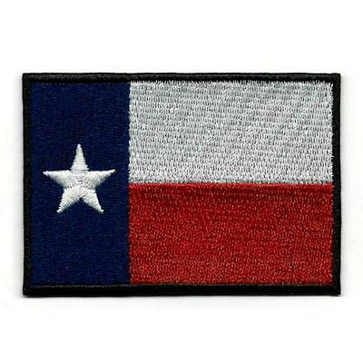 "TEXAS STATE FLAG IRON ON PATCH 3"" Lone Star Embroidered Applique NEW Texan Biker"