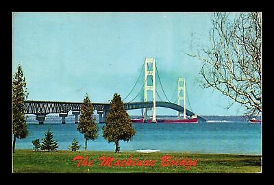 Dr Jim Stamps Us The Mackinac Bridge Chrome View Michigan Postcard