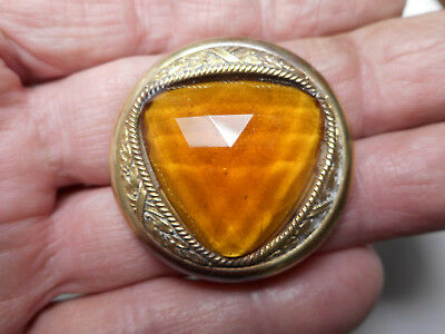 "Large Gold Triangle Glass Jewel Brass Gay 90's Paris Antique Button 1-3/8"" RS"