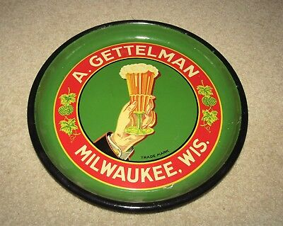 A. GETTELLMAN Brewery HAND & GLASS 1930' s tray   CLEAN!