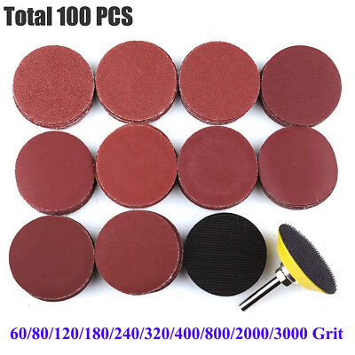 "100x Sanding Discs 2"" Sanding Disc Sand paper Hook Loop Sander M6 Drill Adapter"