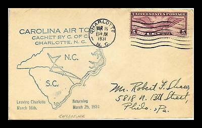 Dr Jim Stamps Us Charlotte North Carolina Air Tour Air Mail Event Cover 1931