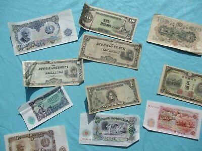 1800-1900's (11 pc)  Money from Russia,Japan GRAPHICS,attic find lot!