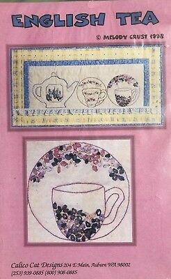 Red Work Silk Ribbon English Tea Pattern Embroidery