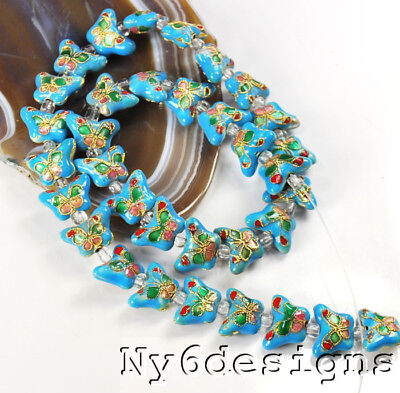 """10x15x6mm Turquoise Blue Cloisonne Butterfly Spacer Loose Beads 15"""" (OT196)a"""