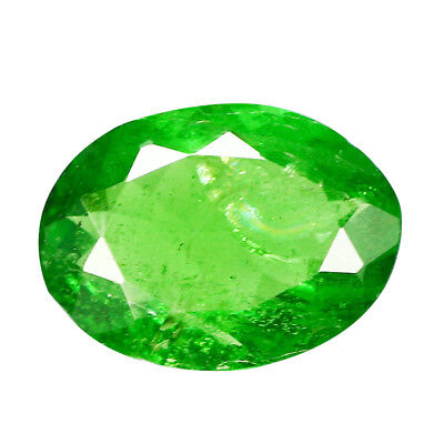 0.83Ct Flashing Oval Cut 7 x 5 mm 100% Natural GREEN TSAVORITE