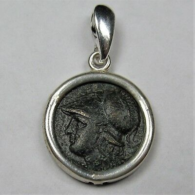 Authentic Ancient Greek Bronze Coin Sterling Silver Pendant Setting Athena #268