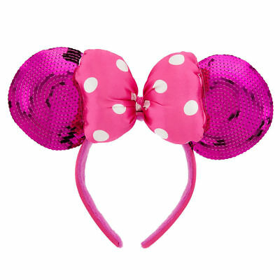 DISNEY Parks MINNIE MOUSE Ears Headband Hot Pink Sequins Polka Dot Bow