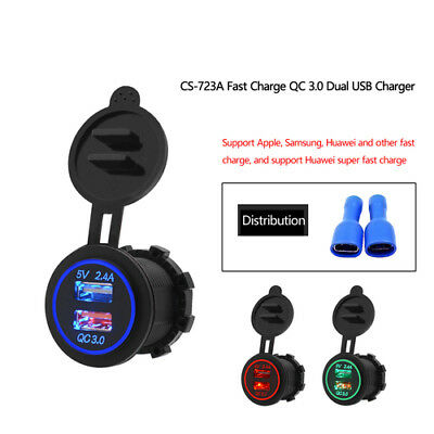 12V Dual USB QC 3.0 Car Cigarette Lighter Socket Charger Power Adapter Outlet
