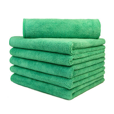 "6 Pcs Microfiber Towel Overlock Scratch Free Cleaning Clothes 16""x16"" Green"