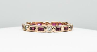$2,000 SOLID 14k Rose Gold .67ctw Genuine Ruby & E-VS Diamond Eternity Band