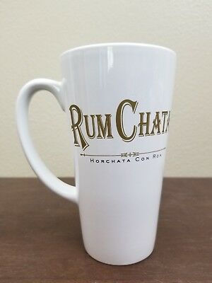 "Rum Chata 14 oz 5"" Tall Coffee Mug Cup Horchata Con Ron White Gold"