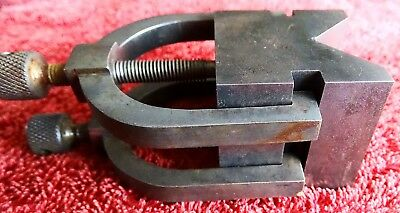 Vintage Engineers Vee Block With Clamps Trade School Project Very Usable