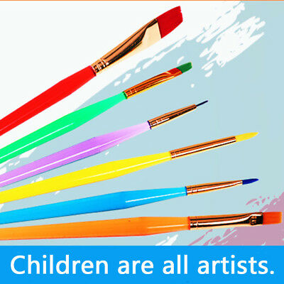 Brandnew 6pcs Kids Art Paint Brushes With PlasticHandle for Artist Kids Painting