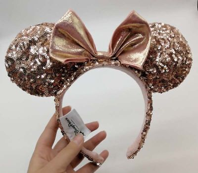 Disney Parks ROSE GOLD Champagne Minnie Mouse Bow Sequins Ear Headband Ears