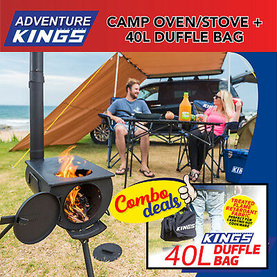 Adventure Kings Camp Oven/Stove + 40L Duffle Bag