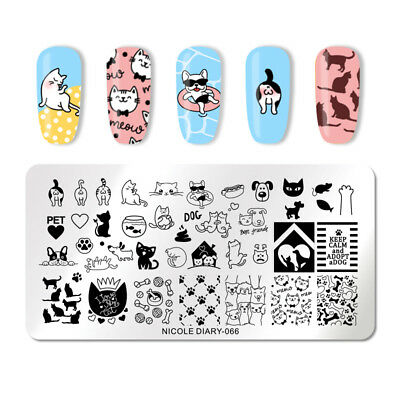 NICOLE DIARY Nail Stamping Plates Rectangle Animal Nail Stamp Image Template 066