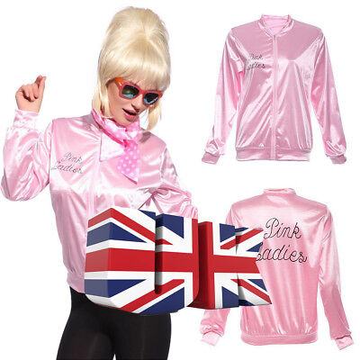 UK Official Grease Pink Ladies Jacket Halloween Stage Jacket S/M/L/XL 2018