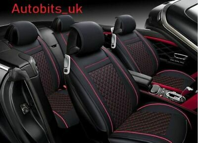 Deluxe Black Red PU Leather Full Set Seat Covers For Mercedes A B C E S G Class