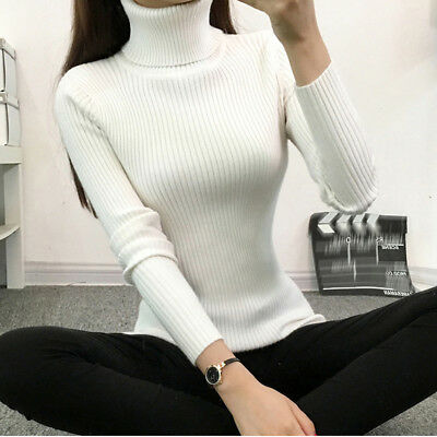 Autumn Winter Turtleneck Knit Sweater Women Solid Striped Long Sleeve Sweater LG