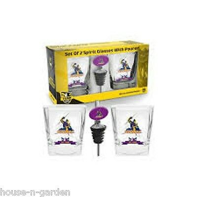 NRL MELBOURNE STORM Set 2 Spirit Glass Glasses with Pourer Gift Set