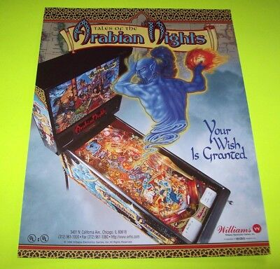 TALES OF THE ARABIAN NIGHTS Pinball Flyer Original NOS Promotional 1996 WILLIAMS