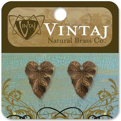 Vintaj Metal Accents-woodland Leaves 18mmx14mm 2/pkg