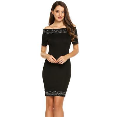 Women Sexy Short Sleeve Off Shoulder Embellished Bodycon Pencil Dress N4U8