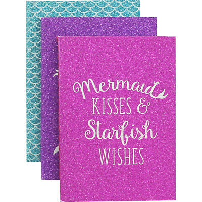 A7 Glitter Mermaid Notebooks - Pack of 3, Stationery, Brand New