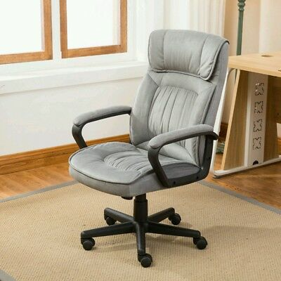 Executive Office Chair Lumber Support Computer Desk Padded Microfiber, Gray