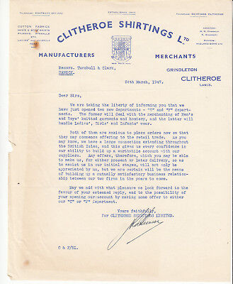 Clitheroe Shirtings Ltd. Grindleton, Lancashire 1947 sales letter