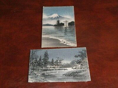 Two Original Japanese Novelty Material Postcards.
