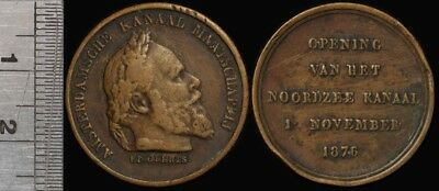 Netherlands: 1876 Willian III Opening of North Sea Canal Medal 25mm
