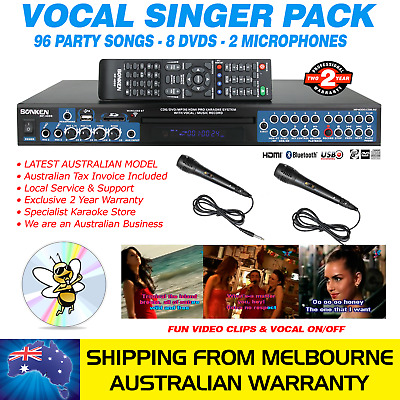 Vocal Singer Mp4000 Karaoke Machine 96 Party Song Pack, 2 Mics, Bluetooth