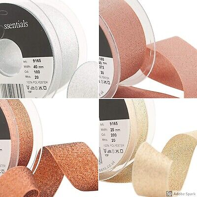 Berisfords Sparkly Glitter Lame Ribbon 7, 15, 25, 40mm Rose Gold Silver Copper