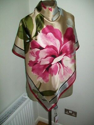 Vince Camuto. Large Stunning Digital Print Vintage Silk Scarf. New + Tags