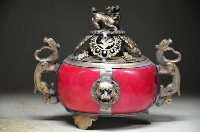 Delicate Chinese Silver Inlaid Jade Handwork Carved Lion Incense Burner